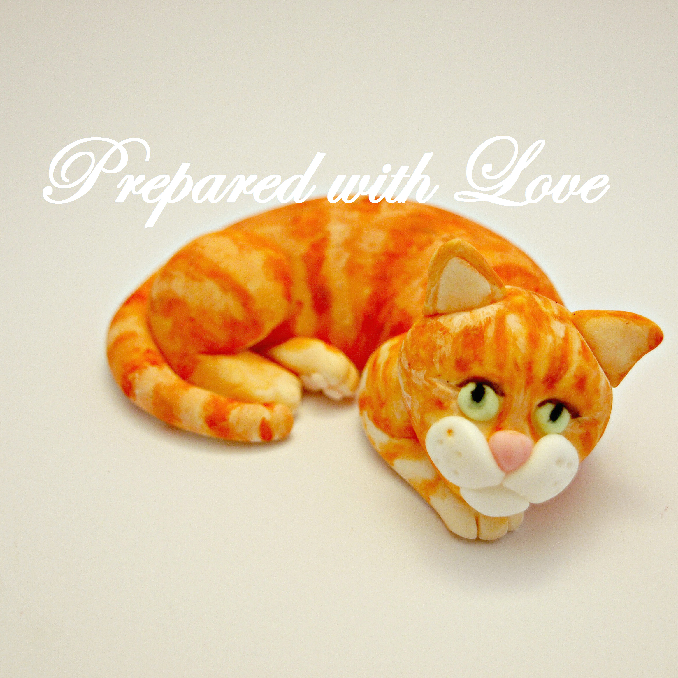 Ginger Cat Cake Topper Prepared With Love